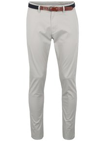 Pantaloni chino slim fit crem cu curea - Selected Homme Yard