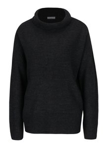 Pulover tricotat gri inchis cu guler indoit - Jacqueline de Yong Kika