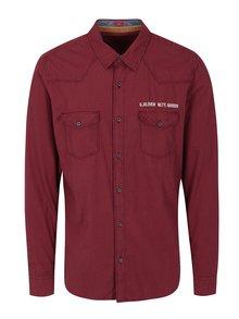 Čierno-červená pánska kockovaná slim fit košeľa s.Oliver