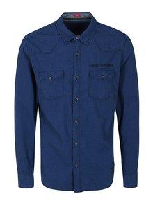 Čierno-modrá pánska kockovaná slim fit košeľa s.Oliver