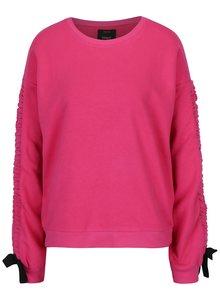 Bluza sport roz  inchis cu gluga si panglici la maneci - ONLY Winnie