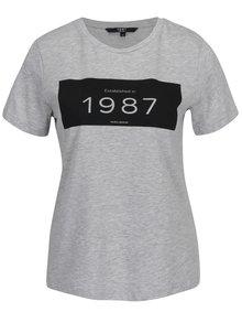 Sivé melírované tričko s potlačou VERO MODA History
