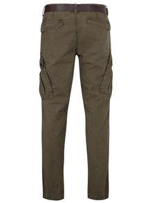 Khaki pánské regular fit kalhoty s kapsami a páskem s.Oliver