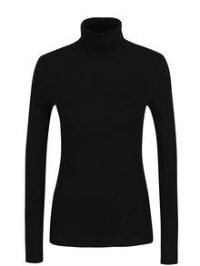 Čierne dámske tričko s rolákom a dlhým rukávom s.Oliver