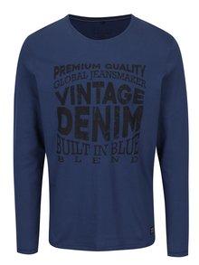 Modré slim fit tričko s dlouhým rukávem Blend