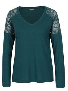 Tmavě zelené tričko s krajkou na ramenou Jacqueline de Yong Parvola