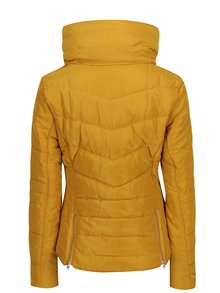 Jacheta galben mustar matlasata cu guler interior de blana  s.Oliver