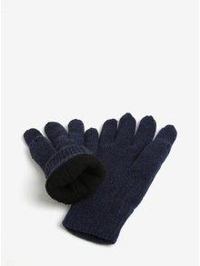 Tmavomodré zimné rukavice s prímesou vlny Blend