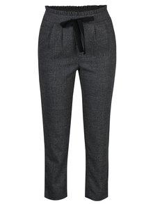 Tmavě šedé žíhané kalhoty s mašlí a vysokým pasem ONLY Margo
