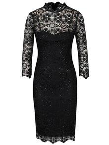 Čierne čipkované šaty s 3/4 rukávom Paper Dolls