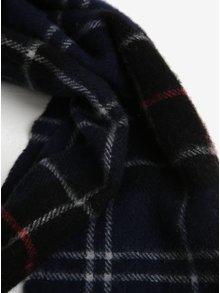 Fular barbatesc bleumarin din lana cu franjuri si carouri - Barbour Tartan Lambswool