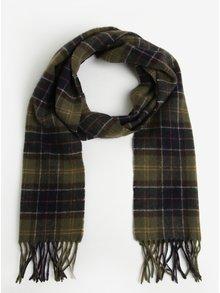 Fular barbatesc kaki din lana cu carouri si franjuri - Classic Barbour Tartan Lambswool