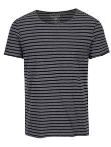 Černo-šedé pruhované slim fit tričko Blend