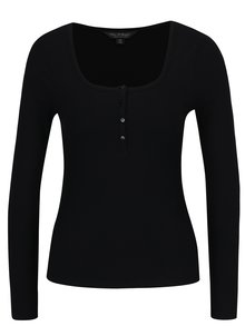 Bluza neagra cu nasturi si dungi in relief  Miss Selfridge