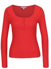 Červené tričko s knoflíky Miss Selfridge