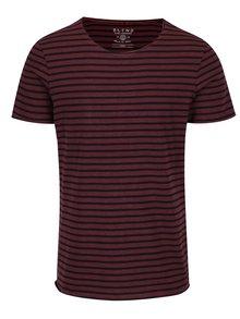 Čierno-vínové pruhované slim fit tričko Blend