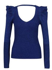 Modrý trblietavý sveter so zberkaním na rukávoch Miss Selfridge
