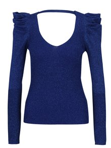 Modrý třpytivý svetr s řasením na rukávech Miss Selfridge