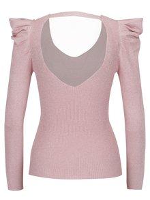 Růžový třpytivý svetr s řasením na rukávech Miss Selfridge