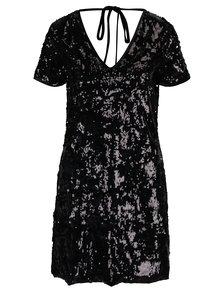 Čierne zamatové šaty s flitrami Miss Selfridge