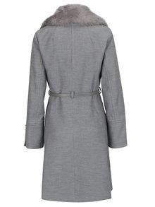 Sivý kabát s opaskom a umelým kožúškom Miss Selfridge