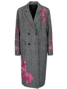 Krémovo-černý vzorovaný kabát s výšivkou Miss Selfridge