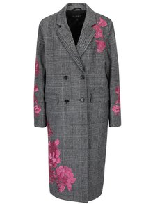 Pardesiu negru&crem cu broderie florala si model houndstooth  Miss Selfridge