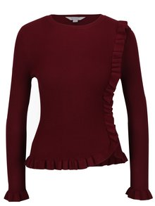 Pulover bordo cu volane Miss Selfridge Petites