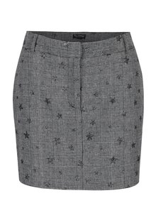 Fusta mini negru&crem cu model houndstooth si stele Miss Selfridge