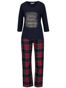 Pijama bleumarin in carouri cu print metalic  Dorothy Perkins