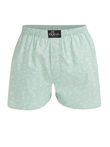 Boxeri din bumbac verde mentol cu print pentru barbati - El.Ka Underwear