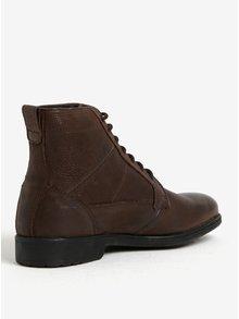 Hnedé pánske zimné kožené členkové topánky Geox Jaylon D
