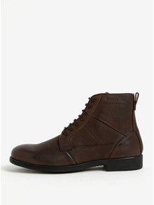 Hnědé pánské zimní kožené kotníkové boty Geox Jaylon D