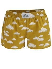 Horčicové dámske trenírky s oblakmi El.Ka Underwear