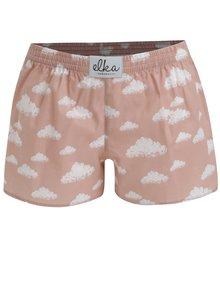 Boxeri roz cu print nori pentru femei - El.Ka Underwear