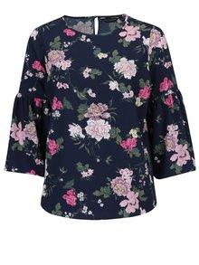 Bluza bleumarin cu maneci clopot si print floral  Dorothy Perkins Curve