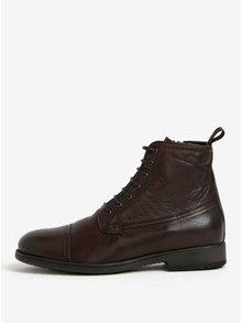 Tmavohnedé pánske zimné kožené členkové topánky Geox Jaylon E