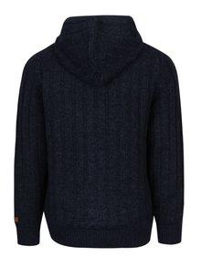 Jacheta tricotata albastru & negru cu gluga si interior matlasat - Blend