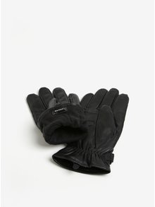 Čierne kožené rukavice Barbour Burnished