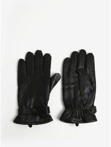 Černé kožené rukavice Barbour Burnished