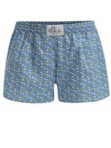 Boxeri albastri cu print inimioare pentru femei - El.Ka Underwear