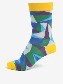 Súprava troch unisex vzorovaných ponožiek v žltej, sivej a modrej farbe Șoseta3