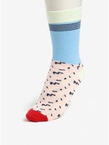Súprava troch unisex ponožiek v staroružovej, zelenej a modrej farbe Șoseta3