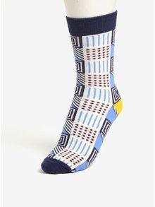Súprava troch krémovo-modrých unisex vzorovaných ponožiek Șoseta3
