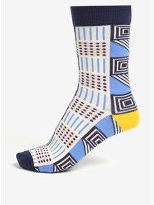 Sada tří krémovo-modrých unisex vzorovaných ponožek Șoseta3
