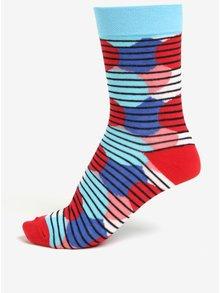 Súprava troch modro-červených unisex pruhovaných ponožiek Șoseta3