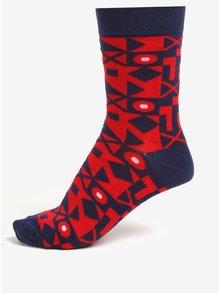 Súprava troch červeno-modrých unisex vzorovaných ponožiek Șoseta3