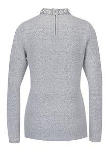 Sivý sveter s korálkami a kamienkami pri krku Dorothy Perkins
