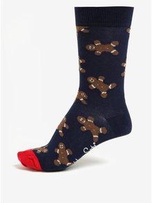 Tmavě modré unisex ponožky s vánočním motivem Happy Socks