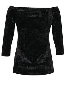 Černé sametové tričko s lodičkovým výstřihem Dorothy Perkins